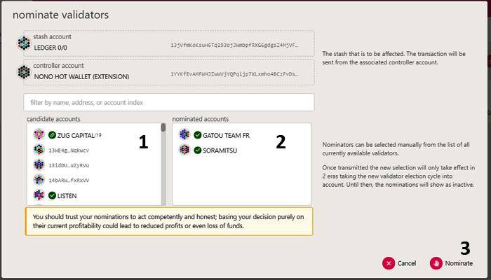 nominer un validateur pour staker des DOT sur polkadot js